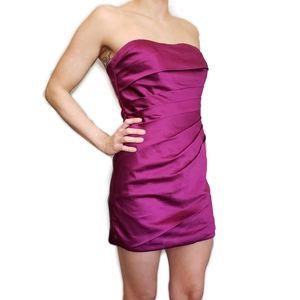 Pleated Strapless Mini Dress Purple